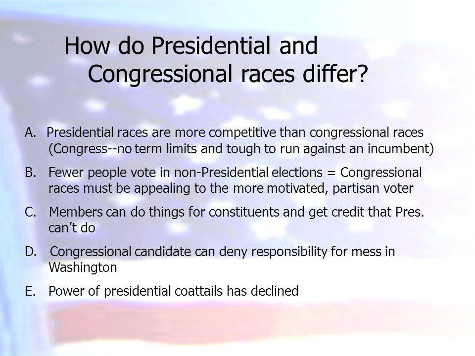 A. Presidential races are more competitive than congressional races (Congress--no term limits and tough to run against an incumbent) B. Fewer people v