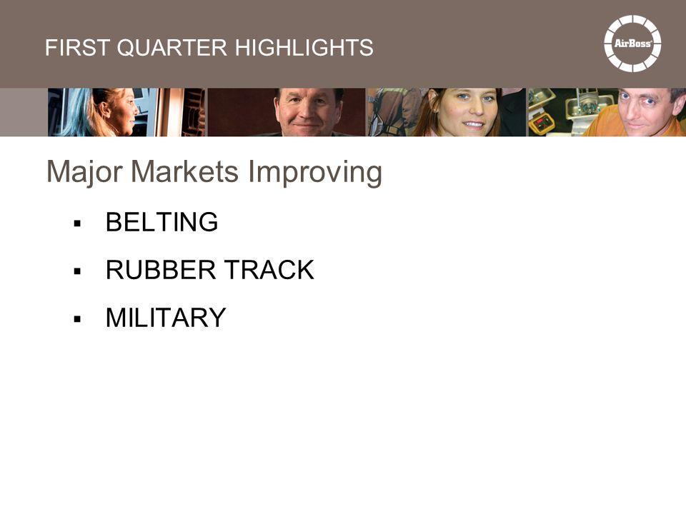 FIRST QUARTER HIGHLIGHTS Major Markets Improving  BELTING  RUBBER TRACK  MILITARY
