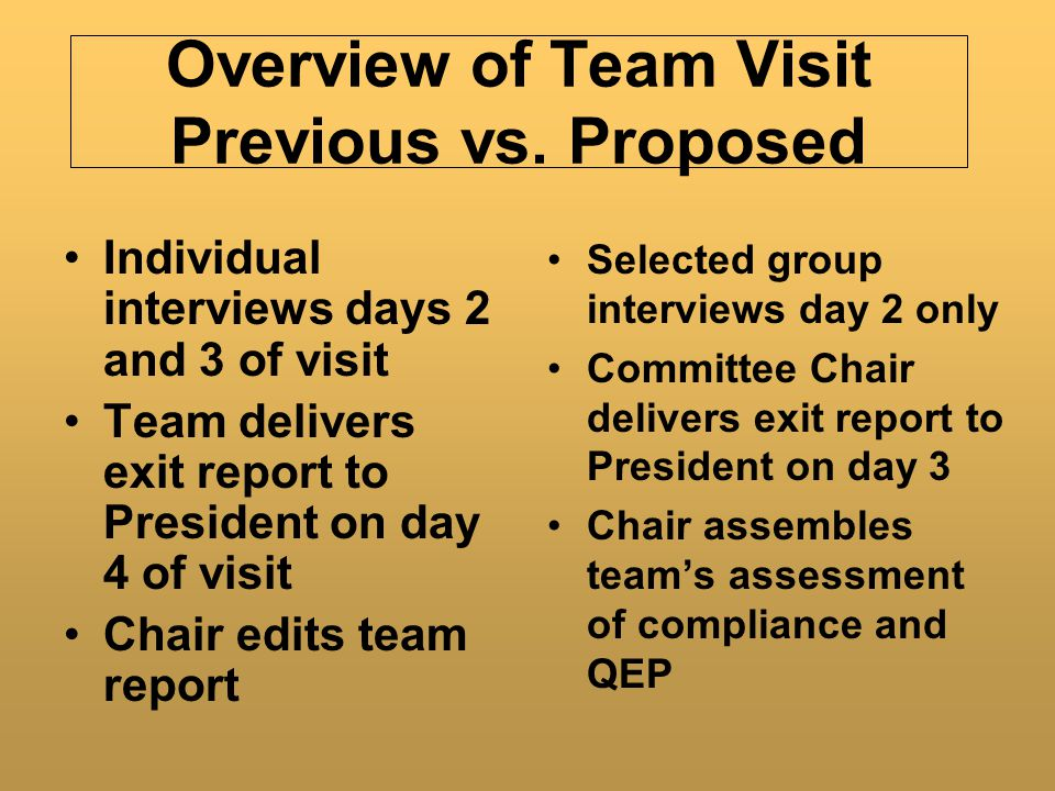Overview of Team Visit Previous vs. Proposed Size of Team : 11-15 Length of Stay: 4 days Opening reception and dinner Focus of Team: Comprehensive Rev