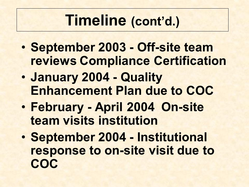 Timeline (Unofficial) September 2002 - Commission on Colleges notifies institution of reaffirmation visit in 2004; provides dates for submission of re