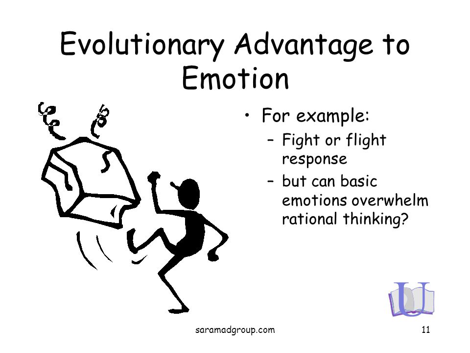 Evolutionary Advantage to Emotion For example: –Fight or flight response –but can basic emotions overwhelm rational thinking? 11saramadgroup.com