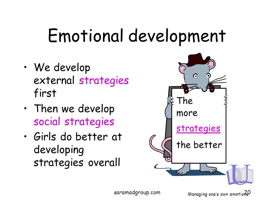 Emotional development We develop external strategies first Then we develop social strategies Girls do better at developing strategies overall The more