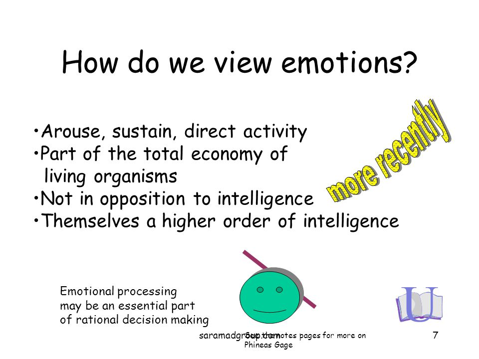 How do we view emotions? Arouse, sustain, direct activity Part of the total economy of living organisms Not in opposition to intelligence Themselves a