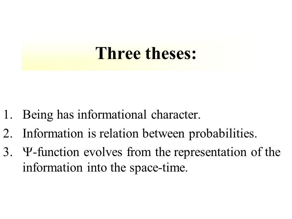 1.Being has informational character. 2.Information is relation between probabilities.