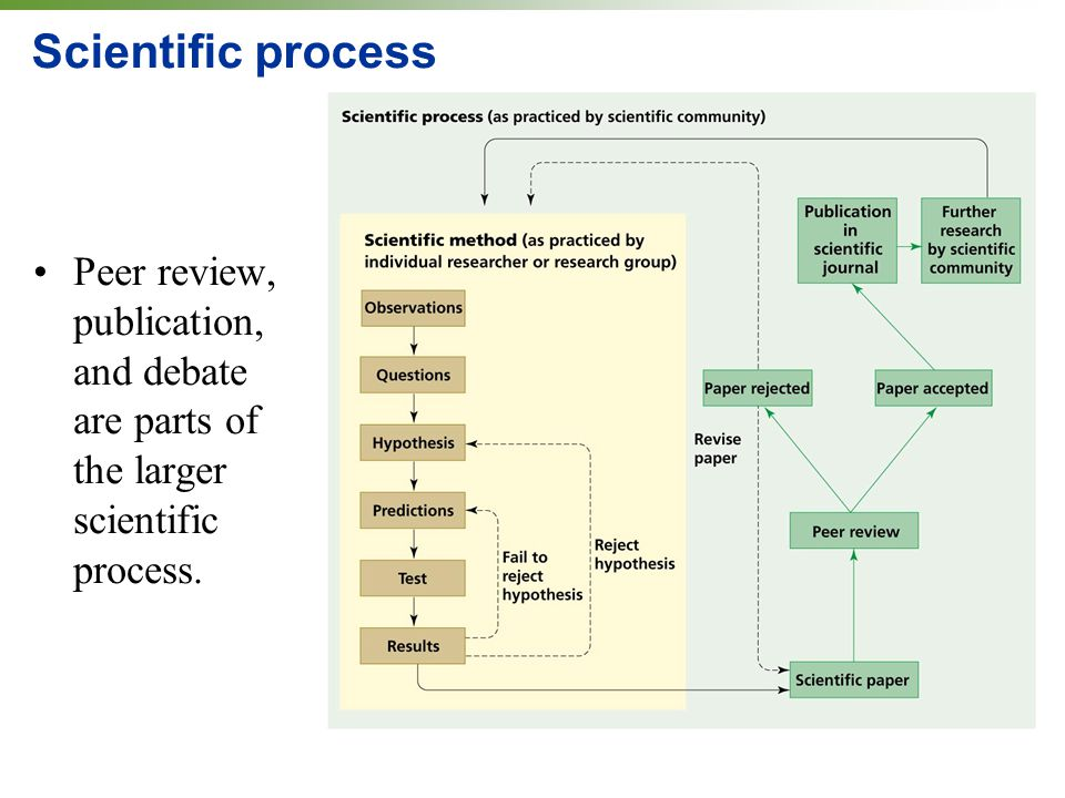 Scientific process Peer review, publication, and debate are parts of the larger scientific process.