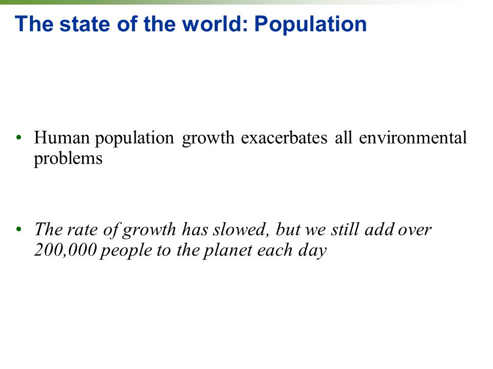 The state of the world: Population Human population growth exacerbates all environmental problems The rate of growth has slowed, but we still add over
