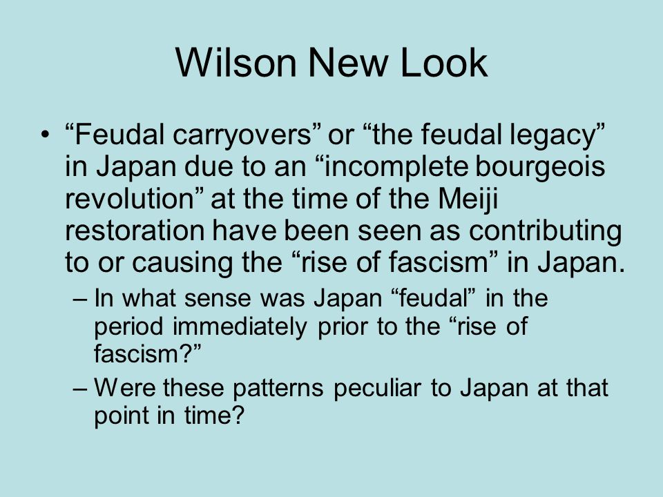 Wilson New Look Feudal carryovers or the feudal legacy in Japan due to an incomplete bourgeois revolution at the time of the Meiji restoration have been seen as contributing to or causing the rise of fascism in Japan.