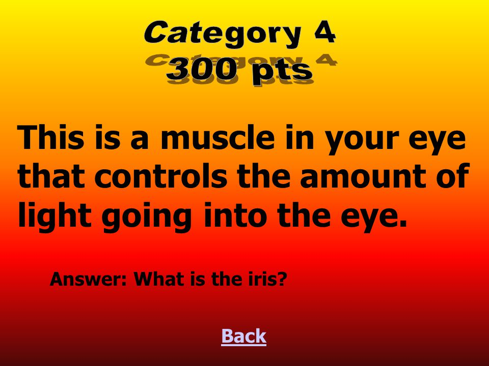 Light travels into the eye through an opening called this. Back Answer: What is the pupil?