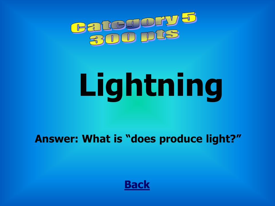 """Fire Back Answer: What is """"does produce light?"""""""
