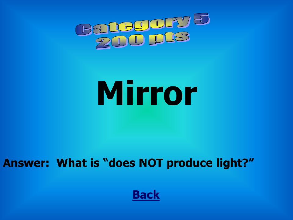 """Lightning Back Answer: What is """"does produce light?"""""""