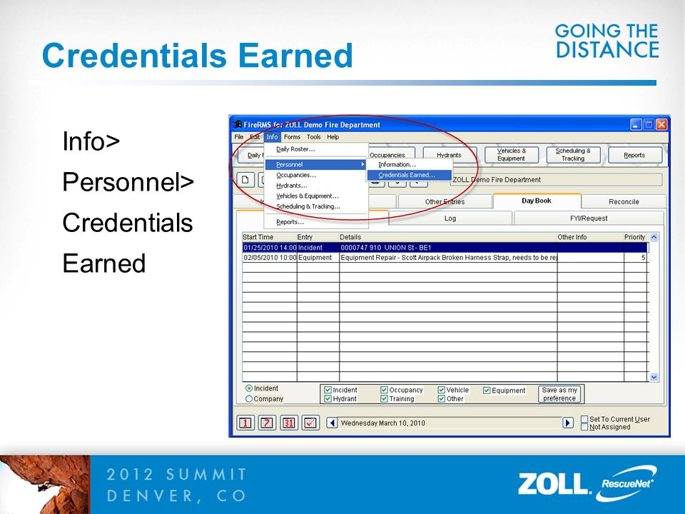 Credentials Earned Info> Personnel> Credentials Earned