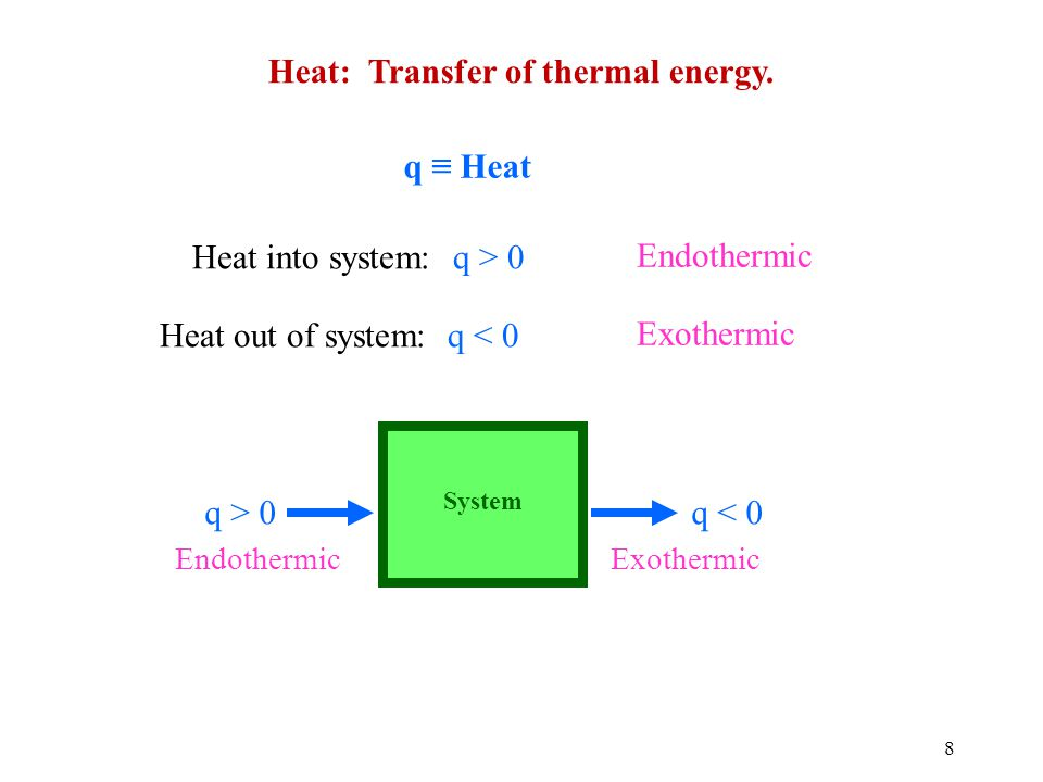 8 Heat: Transfer of thermal energy.