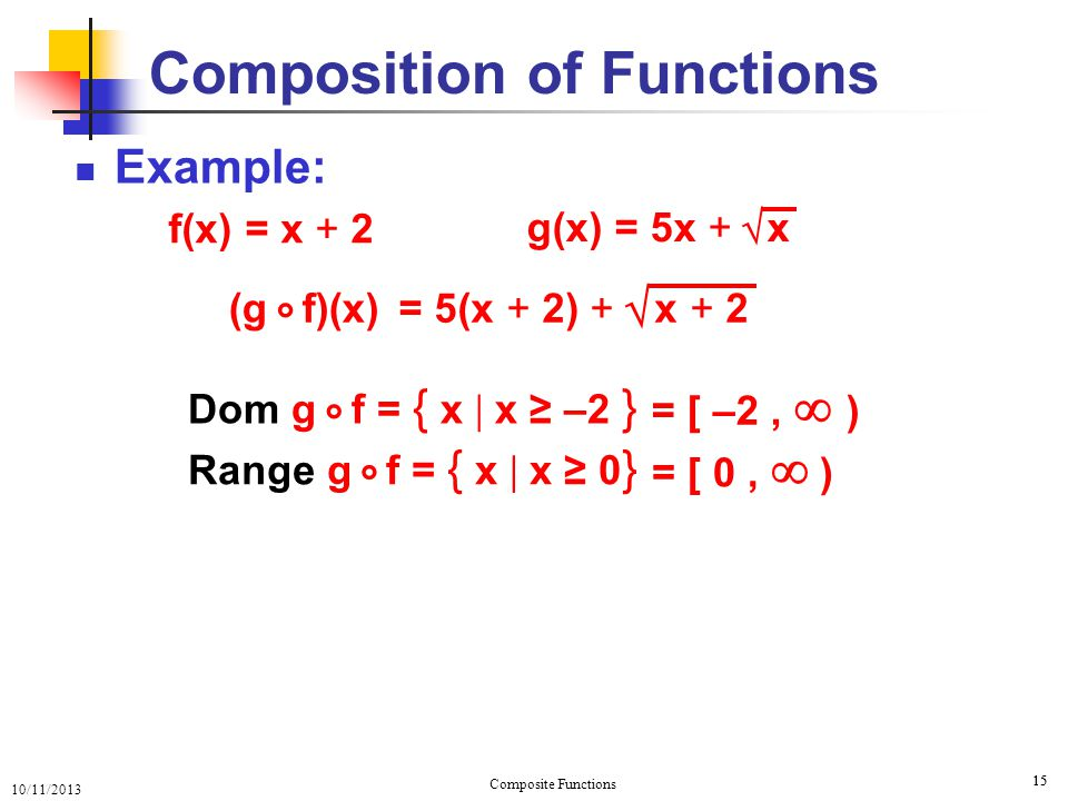 10/11/2013 Composite Functions 16 Example: 16 Composition of Functions f(x) = x + 2 g(x) = 5x + x  = f ( 5x + x )  = 5x + x + 2  (f g)(x) = f(g(x)) ° Question: (g f)(x) ° = 5(x + 2) + x + 2  ° How do g f and differ .