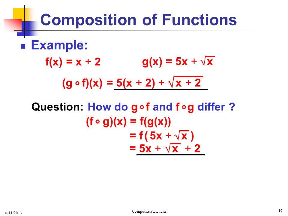 10/11/2013 Composite Functions 17 Example: 17 Composition of Functions f(x) = x + 2 g(x) = 5x + x  = 5x + x + 2  (f g)(x) ° = [ 2,  ) Range f g ° (g f)(x) ° = 5(x + 2) + x + 2  Dom f g ° = [ 0,  ) = [ –2,  ) Dom g f ° = [ 0,  ) Range g f ° What if f(x) = x 2 – 4 x – 2 = x + 2, for x ≠ 2 ?