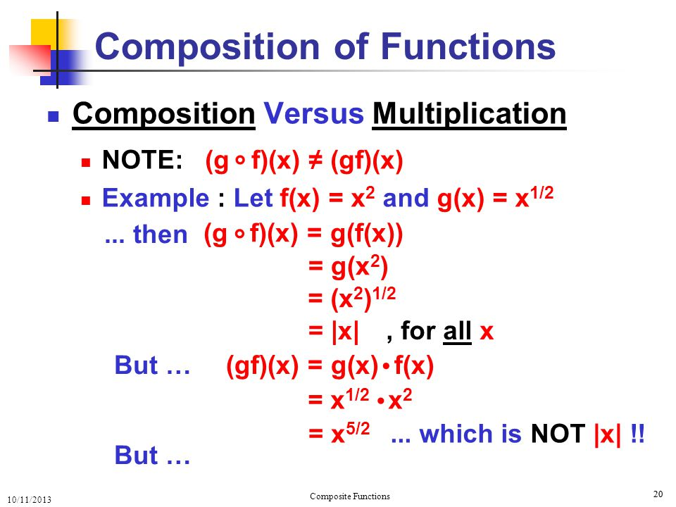 10/11/2013 Composite Functions 21 Composition Versus Multiplication Is it possible that Composition of Functions...