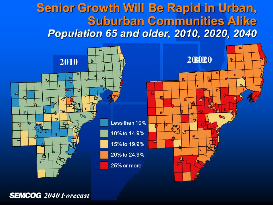 Areas with Fastest Growth Differ from Areas with Greatest Shares Less than 10% 10% to 14.9% 15% to 19.9% 20% to 24.9% 25% or more Percent 65+ in 2010 Change in 65+ population, 2010-2040 Less than 25% 25% to 49.9% 50% to 99.9% 100% or more Region percent 13.0Region change 85% 2040 Forecast