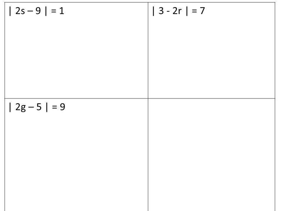 | 2s – 9 | = 1| 3 - 2r | = 7 | 2g – 5 | = 9