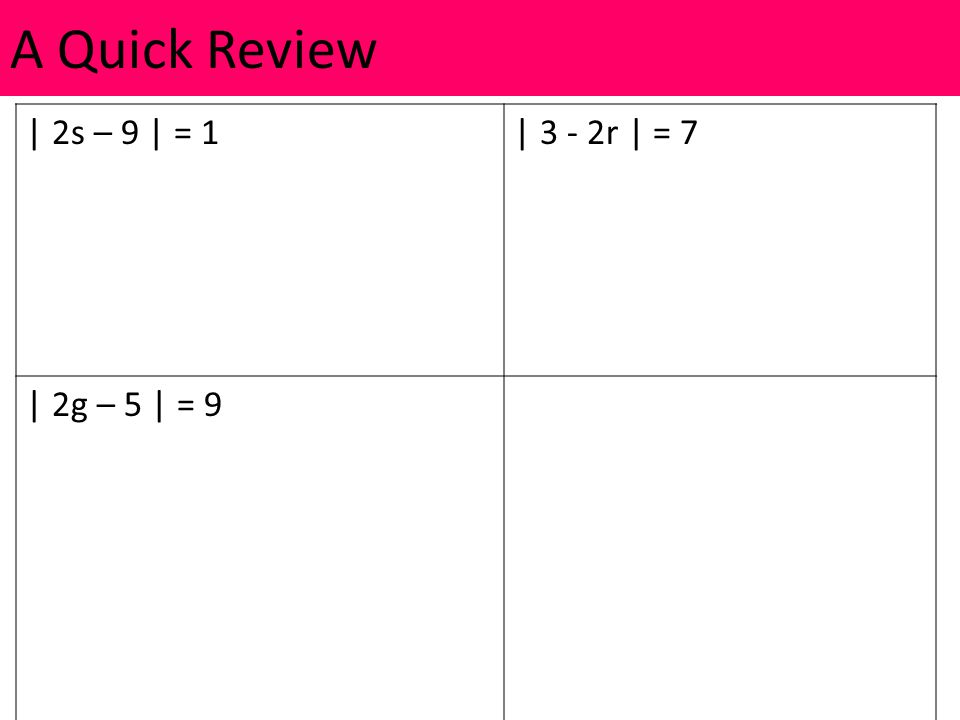 | 2s – 9 | = 1| 3 - 2r | = 7 | 2g – 5 | = 9 A Quick Review