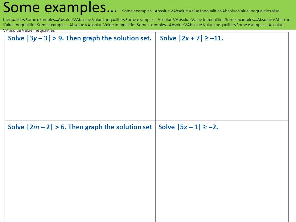 Solve |3y – 3| > 9. Then graph the solution set. Solve |2x + 7| ≥ –11. Solve |2m – 2| > 6. Then graph the solution setSolve |5x – 1| ≥ –2. Some exampl