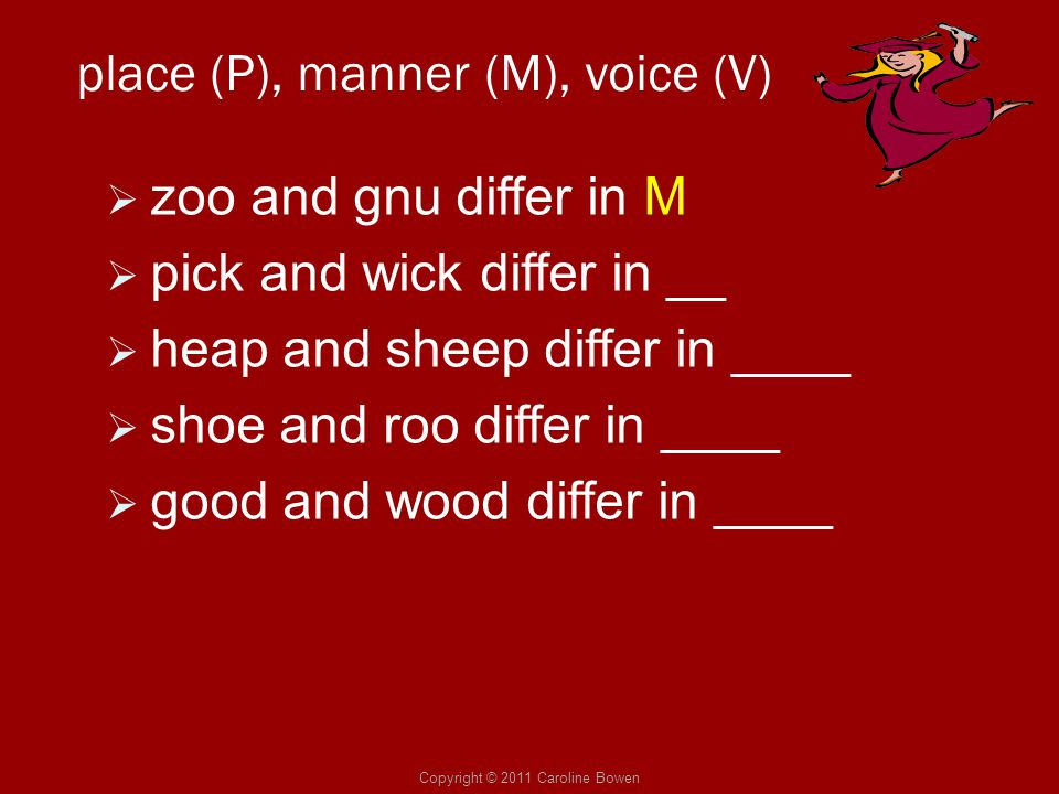 Copyright © 2011 Caroline Bowen place (P), manner (M), voice (V)  zoo and gnu differ in M  pick and wick differ in __  heap and sheep differ in ___