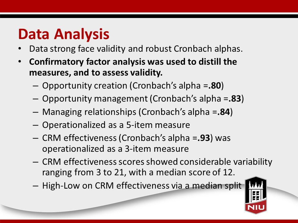 Data Analysis Data strong face validity and robust Cronbach alphas.