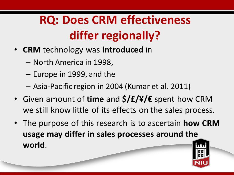 RQ: Does CRM effectiveness differ regionally.