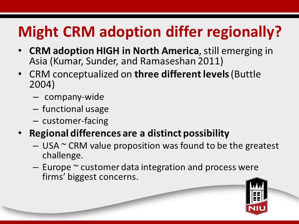 Might CRM adoption differ regionally.