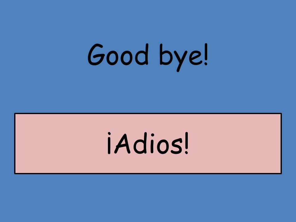 Good bye! ¡Adios!