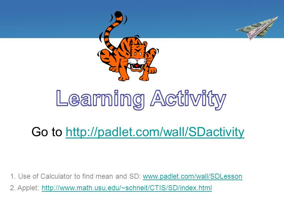Go to http://padlet.com/wall/SDactivityhttp://padlet.com/wall/SDactivity 2. Applet: http://www.math.usu.edu/~schneit/CTIS/SD/index.htmlhttp://www.math