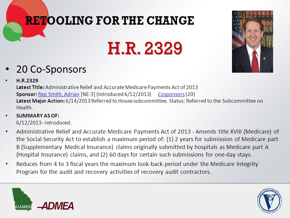 S.1012 S.1012 Latest Title: Medicare Audit Improvement Act of 2013 Sponsor: Sen Blunt, Roy [MO] (introduced 5/22/2013) Cosponsors (14) Related Bills: H.R.1250 Latest Major Action: 5/22/2013 Referred to Senate committee.