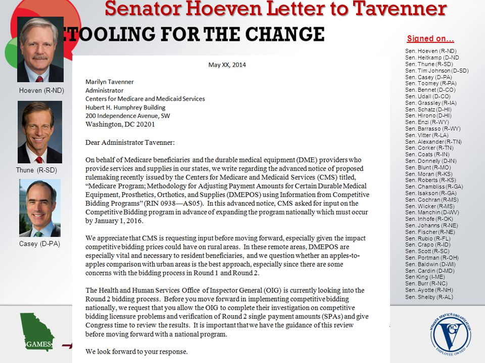 Senator Hoeven Letter to Tavenner Signed on… Hoeven (R-ND) Thune (R-SD) Casey (D-PA) Sen.