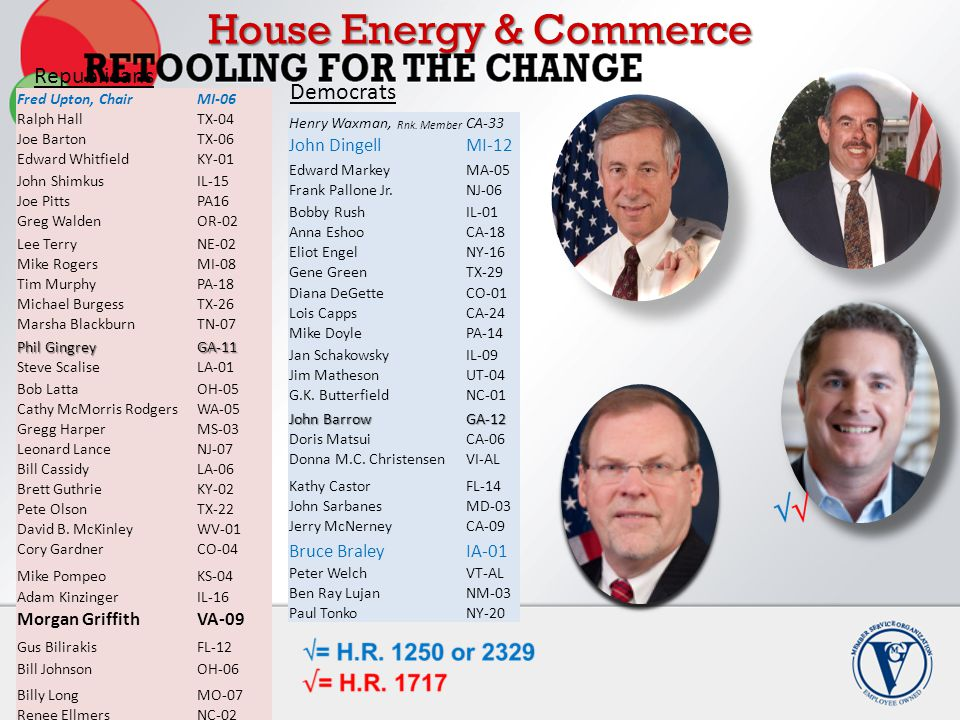 House Energy & Commerce Fred Upton, ChairMI-06 Ralph HallTX-04 Joe BartonTX-06 Edward WhitfieldKY-01 John ShimkusIL-15 Joe PittsPA16 Greg WaldenOR-02 Lee TerryNE-02 Mike RogersMI-08 Tim MurphyPA-18 Michael BurgessTX-26 Marsha BlackburnTN-07 Phil Gingrey GA-11 Steve ScaliseLA-01 Bob LattaOH-05 Cathy McMorris RodgersWA-05 Gregg HarperMS-03 Leonard LanceNJ-07 Bill CassidyLA-06 Brett GuthrieKY-02 Pete OlsonTX-22 David B.