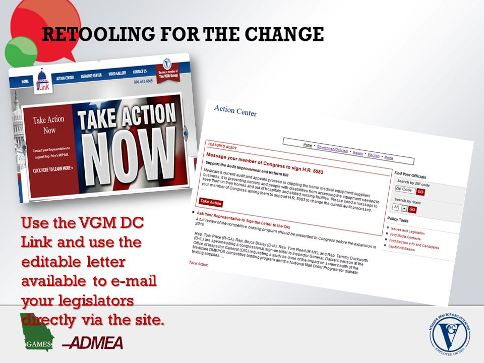 Use the VGM DC Link and use the editable letter available to e-mail your legislators directly via the site.