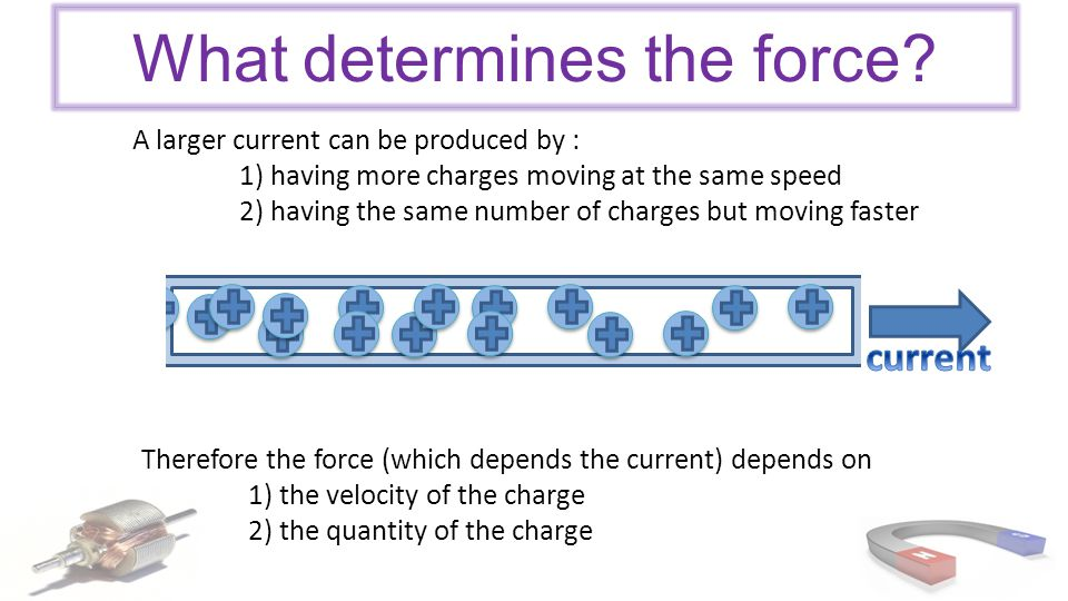 Formula An electric charge, moving perpendicular to an external magnetic field will experience a force F is the force on the charge (N) q is the charge (C) v is the velocity of the charge (ms -1 ) B is the size of the external magnetic field (T)