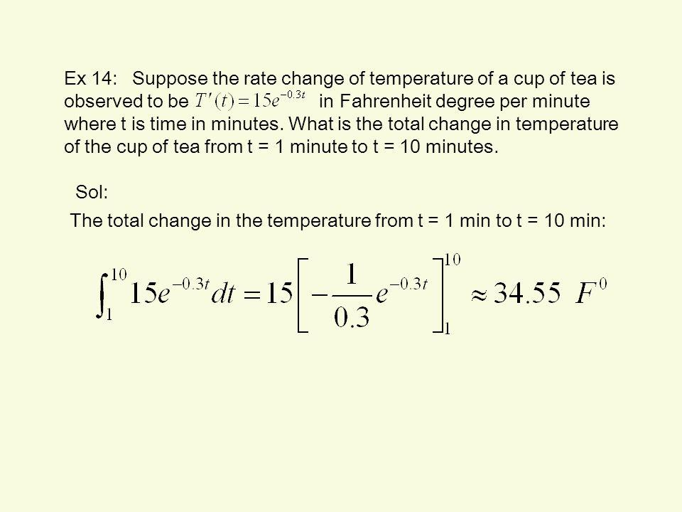 Ex 14:Suppose the rate change of temperature of a cup of tea is observed to be in Fahrenheit degree per minute where t is time in minutes. What is the