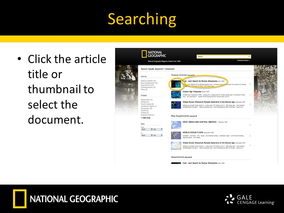 Searching Click the article title or thumbnail to select the document.