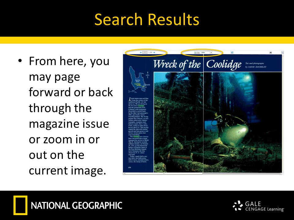 Search Results From here, you may page forward or back through the magazine issue or zoom in or out on the current image.