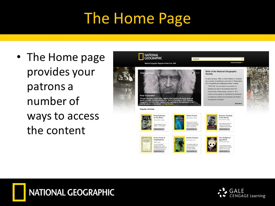The Home Page The Home page provides your patrons a number of ways to access the content