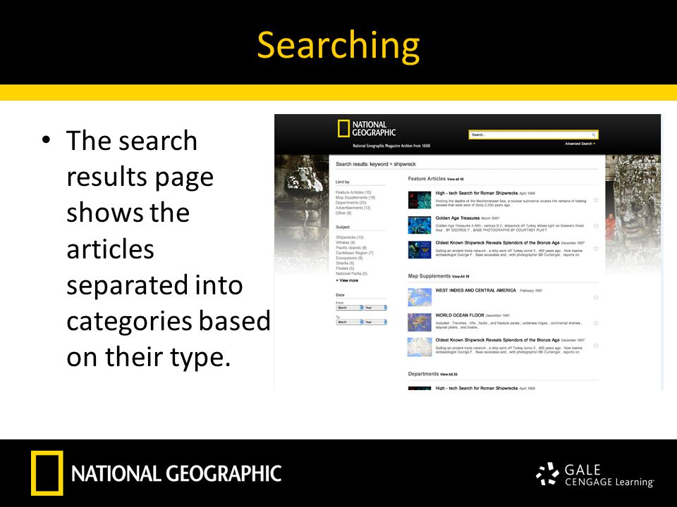 Searching The search results page shows the articles separated into categories based on their type.