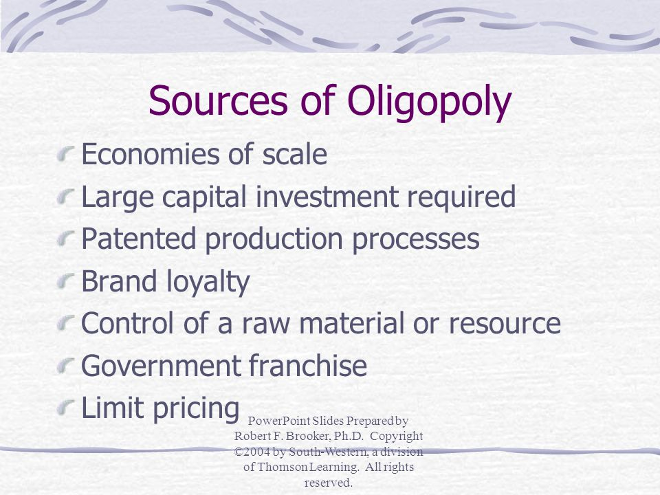 Measures of Oligopoly Concentration Ratios 4, 8, or 12 largest firms in an industry Herfindahl Index (H) H = Sum of the squared market shares of all firms in an industry Theory of Contestable Markets If entry is absolutely free and exit is entirely costless then firms will operate as if they are perfectly competitive PowerPoint Slides Prepared by Robert F.