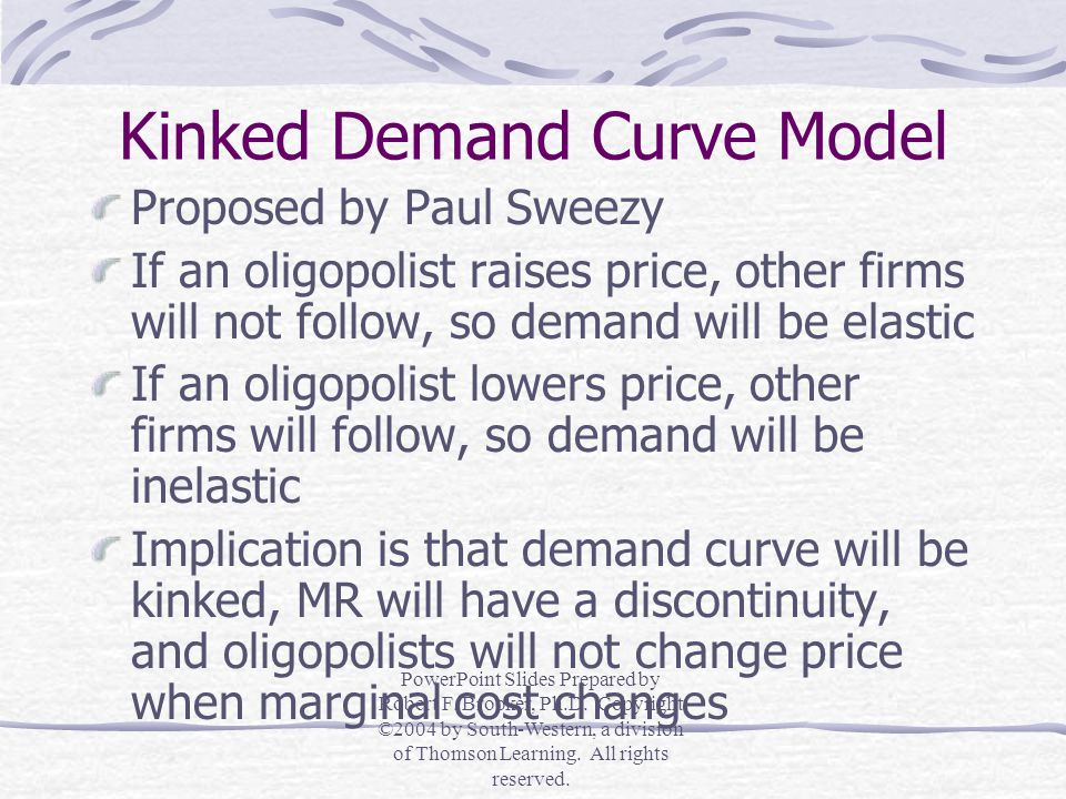 Sales Maximization Model Proposed by William Baumol Managers seek to maximize sales, after ensuring that an adequate rate of return has been earned, rather than to maximize profits Sales (or total revenue, TR) will be at a maximum when the firm produces a quantity that sets marginal revenue equal to zero (MR = 0) PowerPoint Slides Prepared by Robert F.