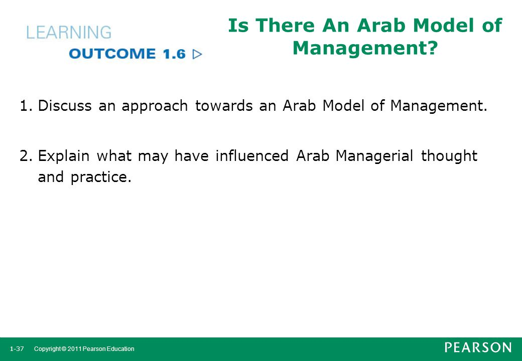 1-37 Copyright © 2011 Pearson Education Is There An Arab Model of Management? 1.Discuss an approach towards an Arab Model of Management. 2.Explain wha