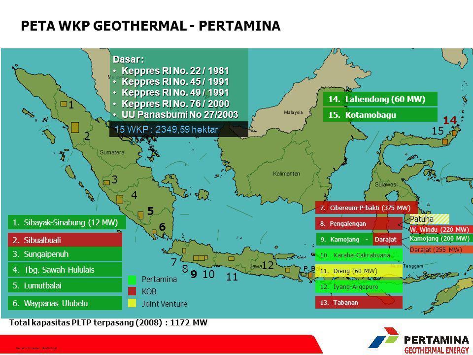 File:hen/srt/master Grafik-2.ppt 20122020 2008201220162020 3442 MW4600 MW 6000 MW (target) 1442 MW Existing WKP 1158 MW Existing WKP + New WKP 1400 MW New WKP Geothermal Road - map (GSDM, 2008) Geothermal Road-map by 2025 1000 Mwe for 30 years 465 Juta Barrel oil 9000 MW (target) 2025 20082016 2025 2007 1052 MW Existing WKP 1193 MW EXIST.WKP 2010 3500 MW New WKP 1189 MW 4733MW 3381.5 MW (Existing WKP) 2000 MW 807 MW (2004)