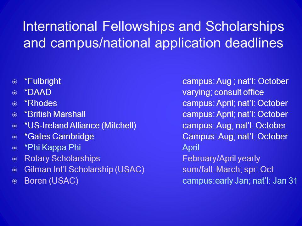 International Fellowships and Scholarships and campus/national application deadlines  *Fulbrightcampus: Aug ; nat'l: October  *DAADvarying; consult