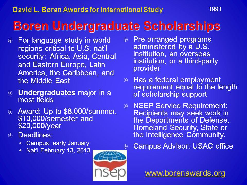  For language study in world regions critical to U.S. nat'l security: Africa, Asia, Central and Eastern Europe, Latin America, the Caribbean, and the
