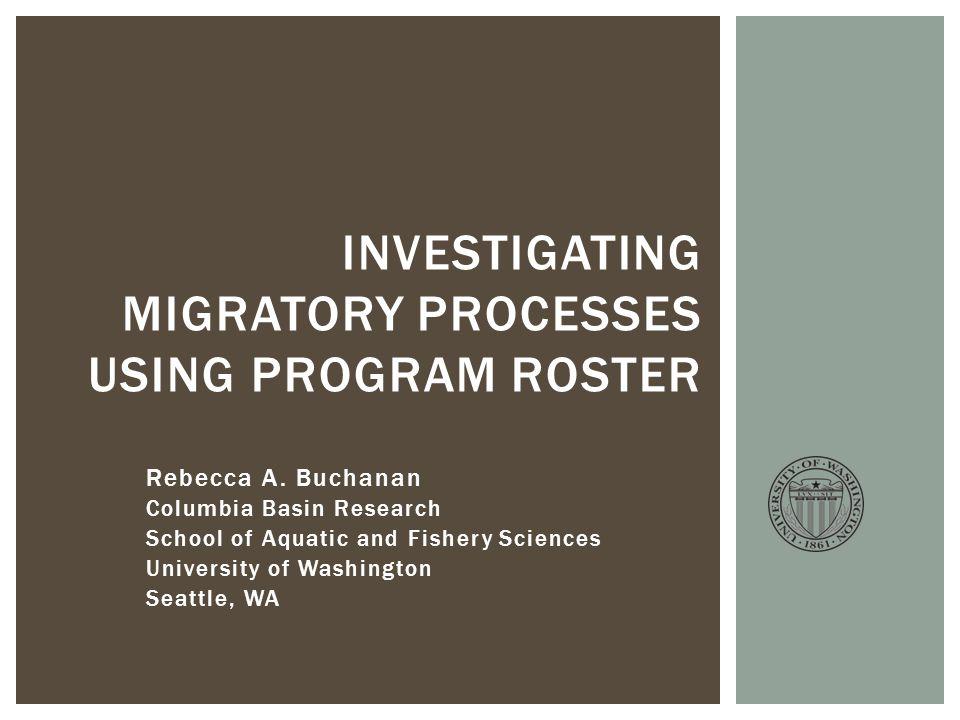 Rebecca A. Buchanan Columbia Basin Research School of Aquatic and Fishery Sciences University of Washington Seattle, WA INVESTIGATING MIGRATORY PROCES