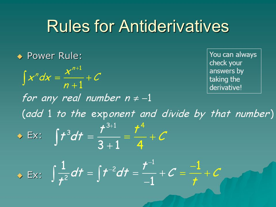 Rules for Antiderivatives PPPPower Rule: EEEEx: EEEEx: You can always check your answers by taking the derivative!