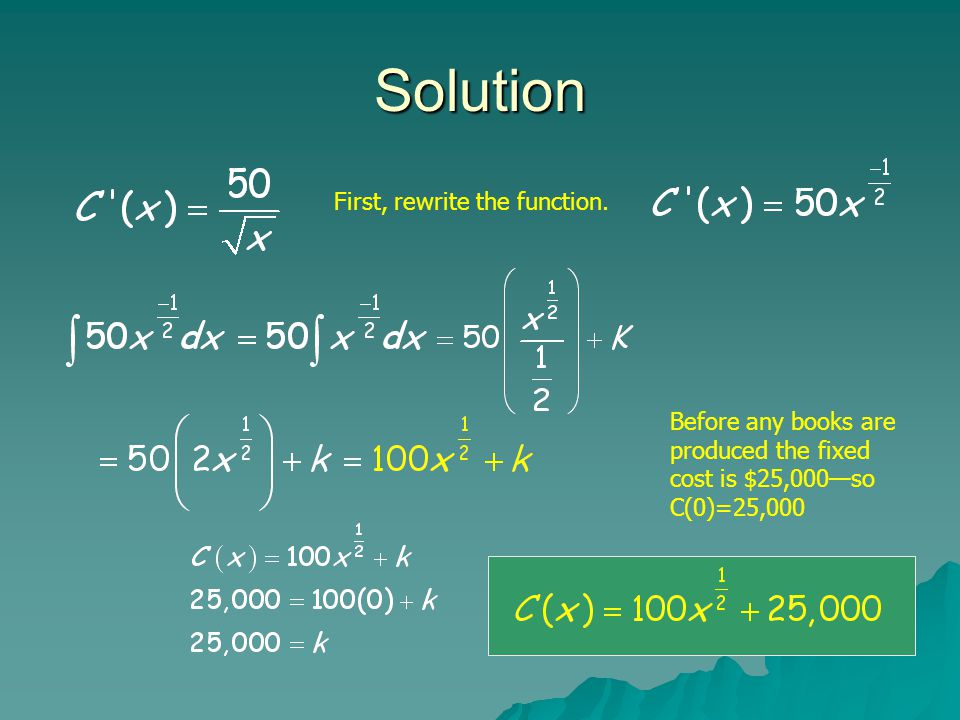 Solution First, rewrite the function. Before any books are produced the fixed cost is $25,000—so C(0)=25,000