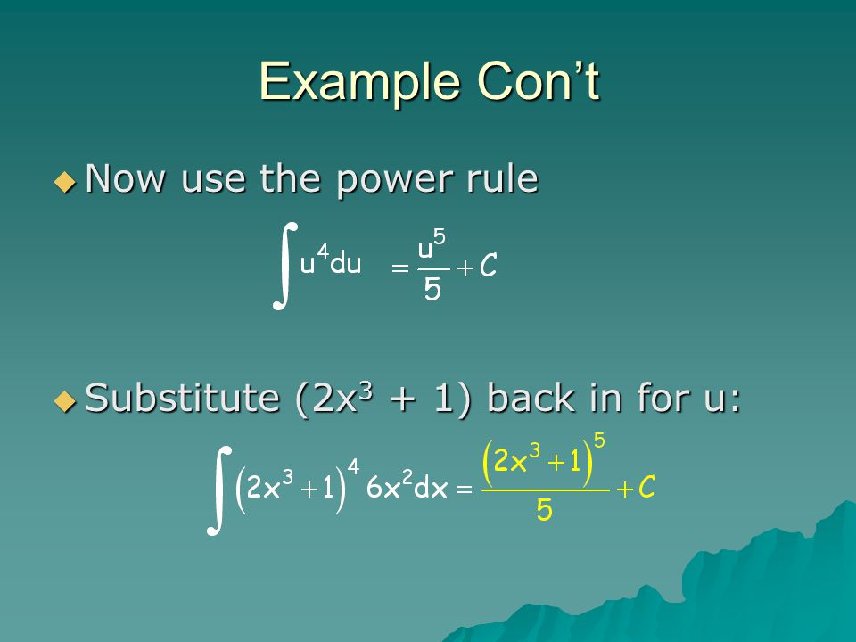 Example Con't NNNNow use the power rule SSSSubstitute (2x3 + 1) back in for u: