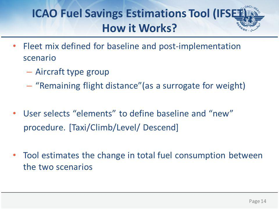 Page 14 ICAO Fuel Savings Estimations Tool (IFSET) How it Works.
